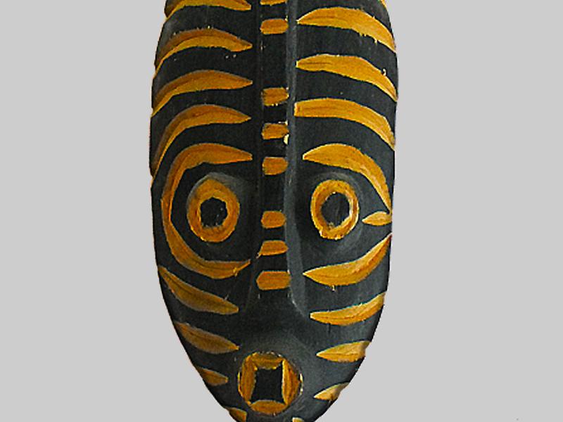 Masque Africain Jaune et Noir - Ouidah - Bénin